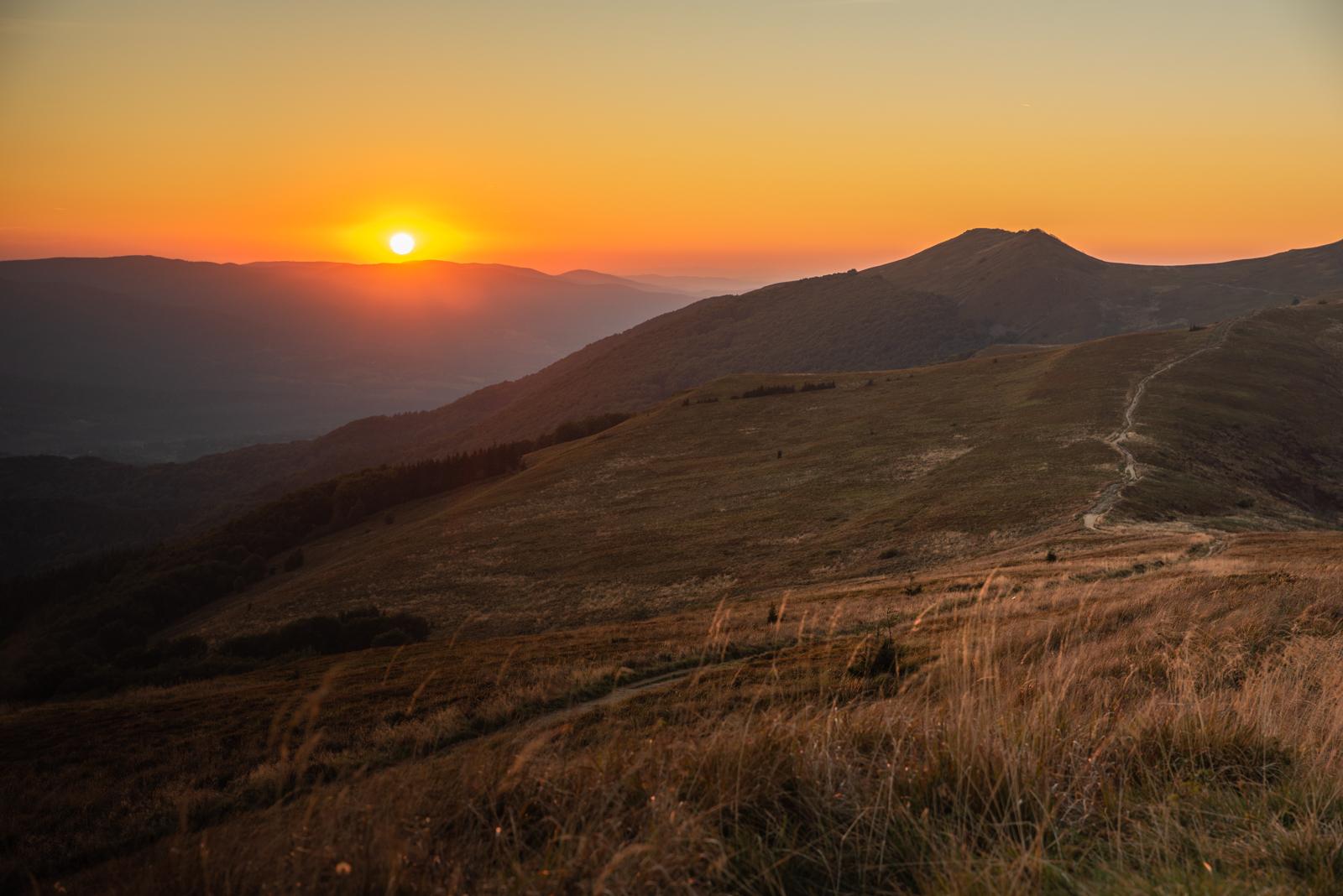 Zachód słońca na Wetlinie.
